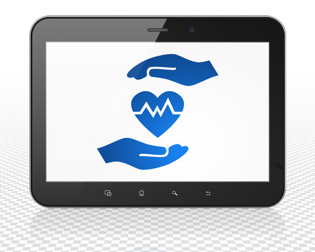 palm computer: Insurance concept: Tablet Pc Computer with blue Heart And Palm icon on display