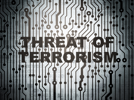 electronic voting: Politics concept: circuit board with  word Threat Of Terrorism, 3d render Stock Photo