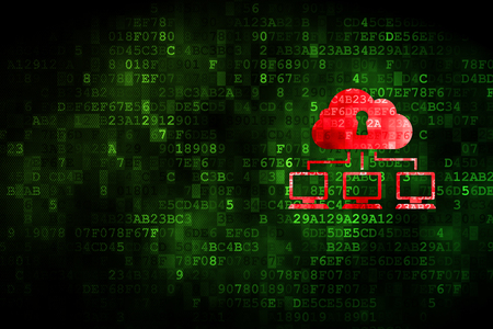 cloud technology: Cloud technology concept: pixelated Cloud Network icon on digital background, empty copyspace for card, text, advertising Stock Photo