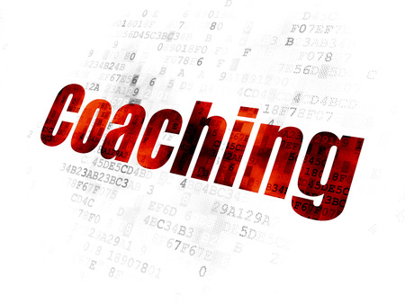pixelated: Learning concept: Pixelated red text Coaching on Digital background Stock Photo