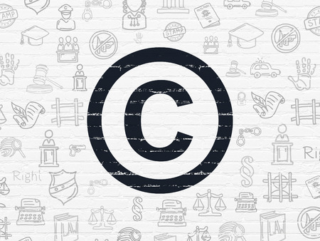 Law concept: Painted black Copyright icon on White Brick wall background with  Hand Drawn Law Icons