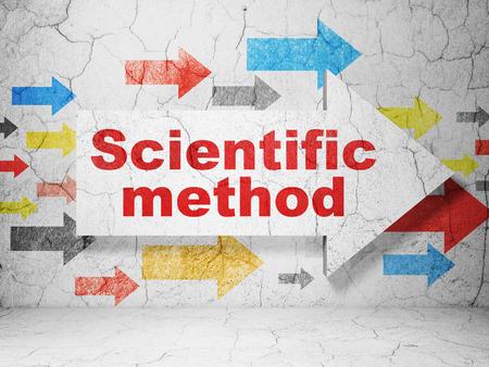 metodo cientifico: Concepto de la ciencia: la flecha con el Método Científico de grunge con textura de fondo muro de hormigón