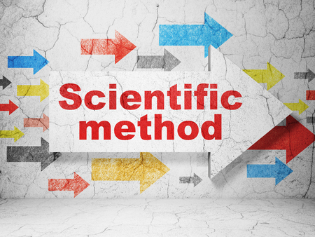 scientific method: Science concept:  arrow with Scientific Method on grunge textured concrete wall background