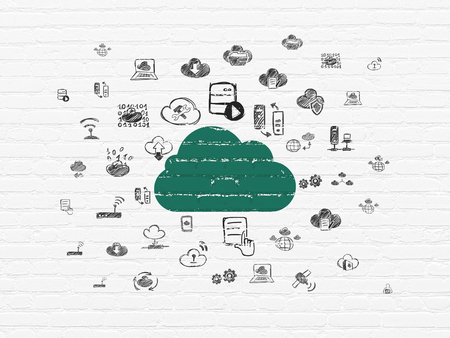 green computing: Cloud computing concept: Painted green Cloud icon on White Brick wall background with  Hand Drawn Cloud Technology Icons