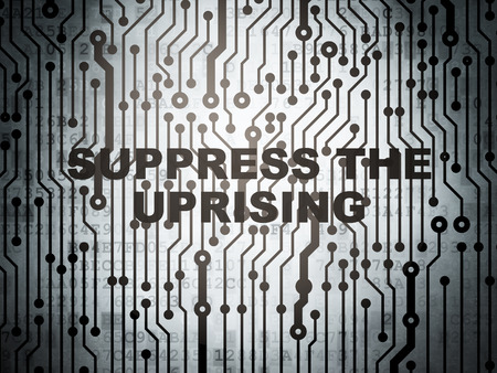 suppress: Political concept: circuit board with  word Suppress The Uprising, 3d render Stock Photo