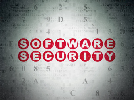privat: Security concept: Painted red text Software Security on Digital Paper background with Hexadecimal Code