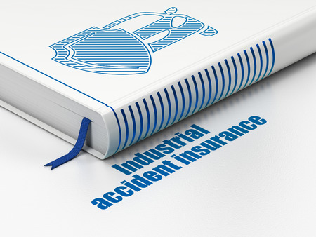 industrial accident: Insurance concept: closed book with Blue Car And Shield icon and text Industrial Accident Insurance on floor, white background, 3d render