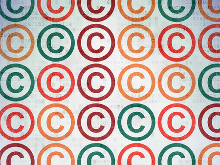 data protection act: Law concept: Painted multicolor Copyright icons on Digital Paper background