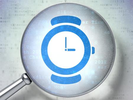 cronologia: Concepto de tiempo: vidrio �ptico de aumento con reloj icono en el fondo digital