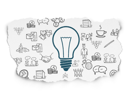 a solution tube: Business concept: Painted blue Light Bulb icon on Torn Paper background with  Hand Drawn Business Icons