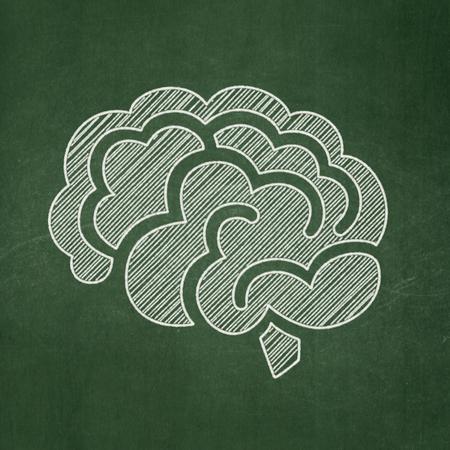 cerebro blanco y negro: Concepto de la ciencia: Icono del cerebro en el fondo verde de la pizarra Foto de archivo