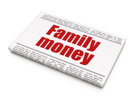 news values: Money concept: newspaper headline Family Money on White background, 3d render