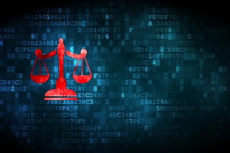 법률 개념 : 디지털 배경에 픽셀 화 저울 아이콘, 카드, 텍스트, 광고에 대 한 빈 copyspace