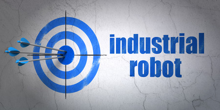 hitting a wall: Success Industry concept: arrows hitting the center of target, Blue Industrial Robot on wall background Stock Photo