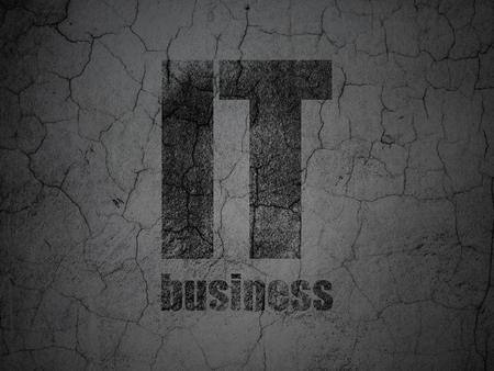 it business: Business concept: Black IT Business on grunge textured concrete wall background