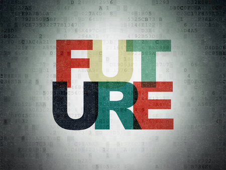 cronologia: Timeline concept: Painted multicolor text Future on Digital Paper background Foto de archivo