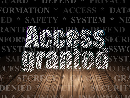 room access: Safety concept: Glowing text Access Granted in grunge dark room with Wooden Floor, black background with  Tag Cloud