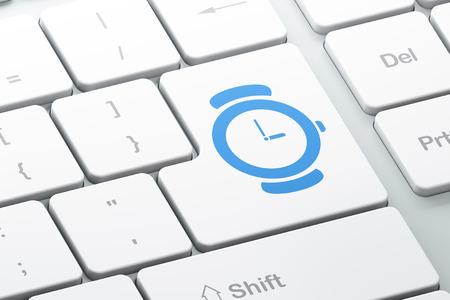 cronologia: Concepto de l�nea de tiempo: bot�n Entrar con el reloj en el fondo del teclado del ordenador, 3d