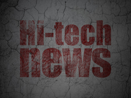 tabloid: News concept: Red Hi-tech News on grunge textured concrete wall background