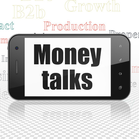 conversaciones: Business concept: Smartphone with  black text Money Talks on display,  Tag Cloud background Foto de archivo