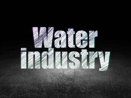 dirty room: Industry concept: Glowing text Water Industry in grunge dark room with Dirty Floor, black background Stock Photo