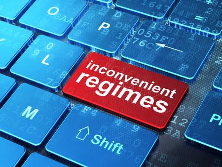 technology: Política concepto: teclado de ordenador con palabra Regímenes Inconvenient en introducir fondo botón, 3d