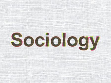 sociologia: Concepto de la educación: CMYK Sociología en la ropa de tela de textura de fondo