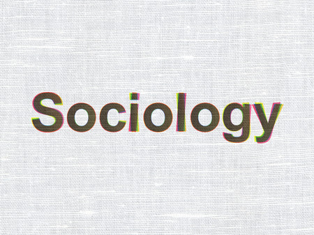 sociology: Education concept: CMYK Sociology on linen fabric texture background