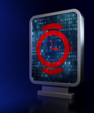 cronologia: Concepto de línea de tiempo: Reloj en la publicidad fondo cartelera, 3d