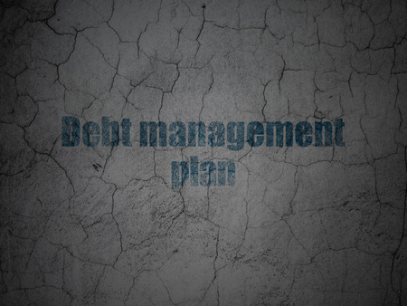 debt management: Business concept: Blue Debt Management Plan on grunge textured concrete wall background