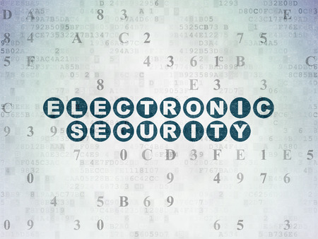 passkey: Protection concept: Painted blue text Electronic Security on Digital Paper background with Hexadecimal Code