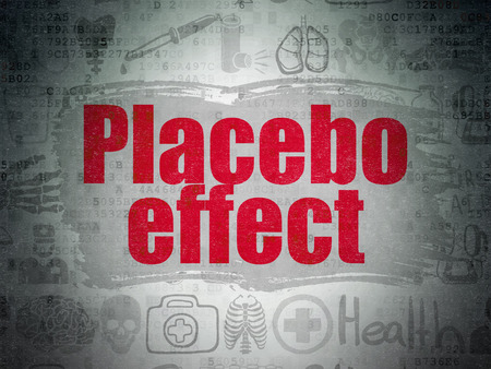 placebo: Healthcare concept: Painted red text Placebo Effect on Digital Paper background with   Hand Drawn Medicine Icons Stock Photo