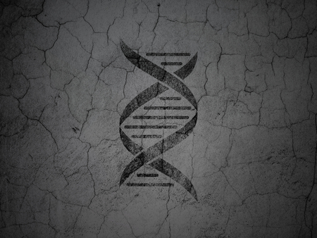 Healthcare concept: Black DNA on grunge textured concrete wall background