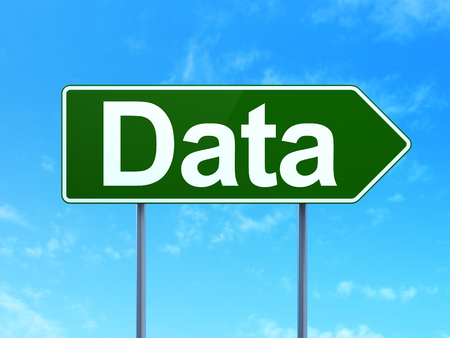 data: Data concept: Data on green road highway sign, clear blue sky background, 3d render