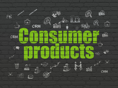 consumer products: Finance concept: Painted green text Consumer Products on Black Brick wall background with  Hand Drawn Business Icons Stock Photo