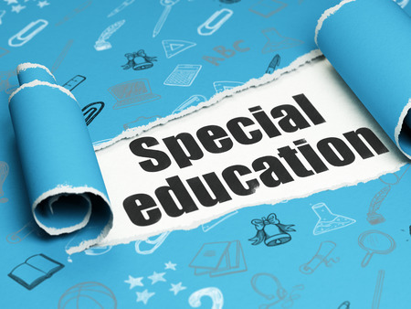 special education: Education concept: black text Special Education under the curled piece of Blue torn paper with  Hand Drawn Education Icons