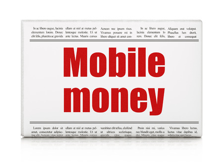 news values: Currency concept: newspaper headline Mobile Money on White background, 3d render