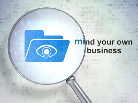 protecting your business: Business concept: magnifying optical glass with Folder With Eye icon and Mind Your own Business word on digital background