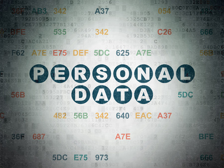 datos personales: Information concept: Painted blue text Personal Data on Digital Paper background with Hexadecimal Code Foto de archivo