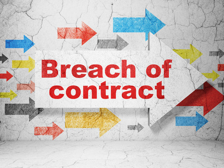 breach: Law concept:  arrow with Breach Of Contract on grunge textured concrete wall background Stock Photo