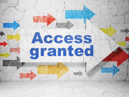 access granted: Security concept:  arrow with Access Granted on grunge textured concrete wall background