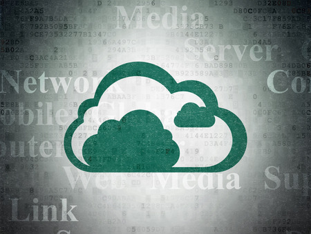 green computing: Cloud computing concept: Painted green Cloud icon on Digital Paper background with  Tag Cloud