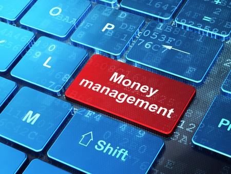 gestion empresarial: Banca concepto: Teclado de ordenador con la palabra de la administraci�n del dinero en el fondo entra en el bot�n, 3d