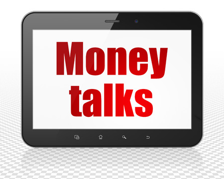 conversa: Finance concept: Tablet Pc Computer with red text Money Talks on display Foto de archivo