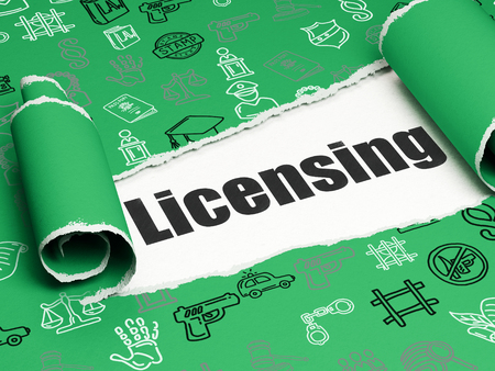 licensing: Law concept: black text Licensing under the curled piece of Green torn paper with  Hand Drawn Law Icons