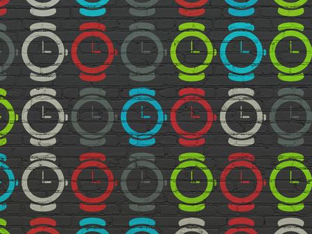 cronologia: L�nea de tiempo de concepto: Pintadas multicolor reloj iconos en fondo de la pared de ladrillo Negro