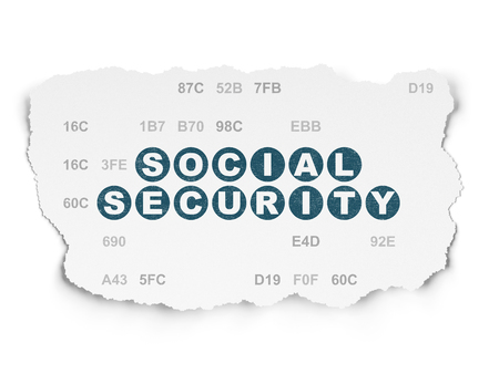hexadecimal: Security concept: Painted blue text Social Security on Torn Paper background with  Hexadecimal Code