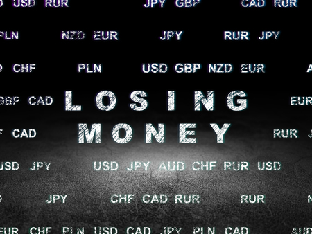 losing money: Currency concept: Glowing text Losing Money in grunge dark room with Dirty Floor, black background with Currency Stock Photo
