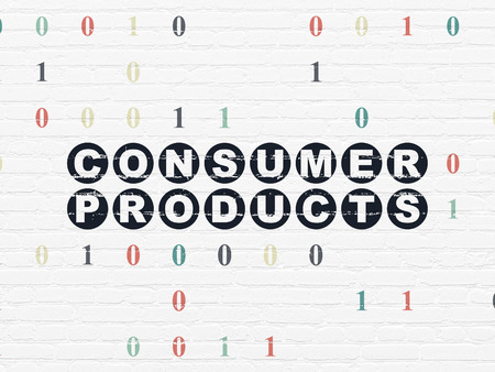 consumer products: Finance concept: Painted black text Consumer Products on White Brick wall background with Binary Code