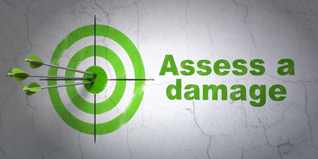 assess: Success Insurance concept: arrows hitting the center of target, Green Assess A Damage on wall background